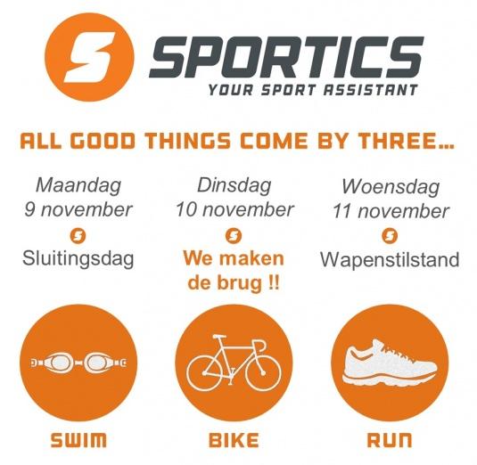 Sportics gesloten op 10 november...
